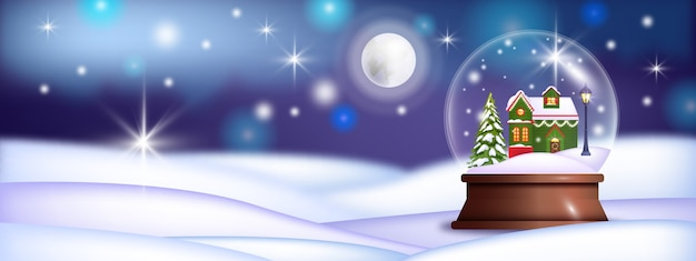 Christmas realistic transparent snow ball vector background with house