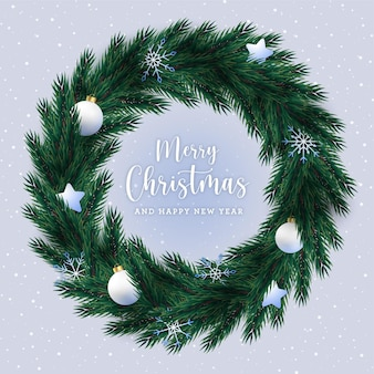Christmas realistic wreath concept background