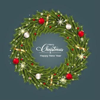 Рождественский реалистичный венок с красными и белыми декоративными шарами реалистичный дизайн соснового венка