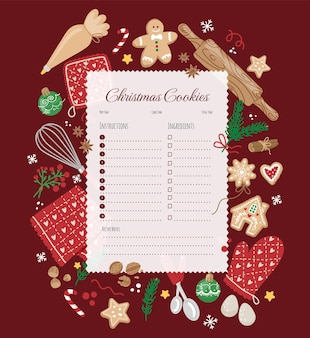 クリスマスのベーキングとデザイン要素の材料とクリスマスレシピテンプレート