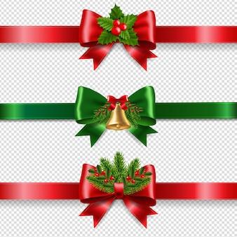 크리스마스 빨강 및 녹색 활과 투명 배경