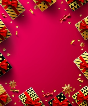 Christmas red background poster with golden gift box and christmas decoration elements