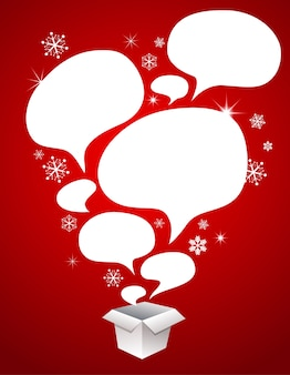 Christmas red background with a gift box and speech bubbles