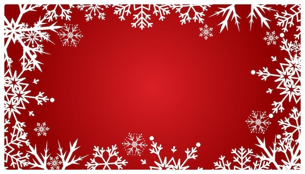 Christmas red background with snowflakes. holiday snow pattern.