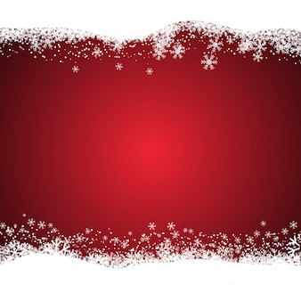 Christmas red background with snowy