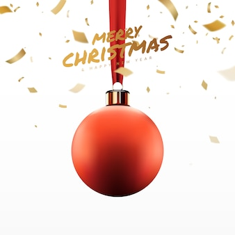 Christmas red balls hang on ribbon with golden confetti