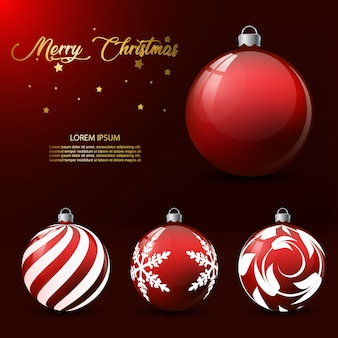 Christmas red balls with text template