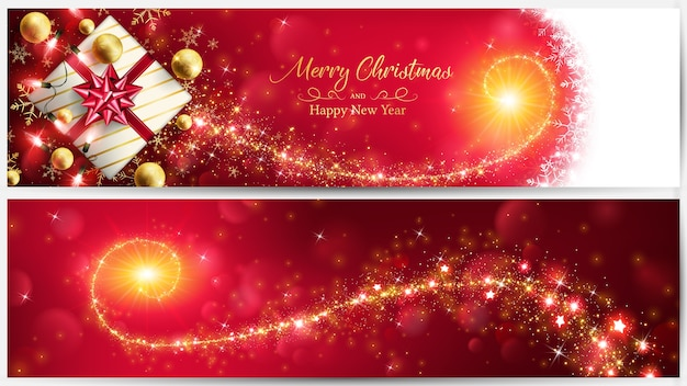 Christmas red banner with golden magic stardust.