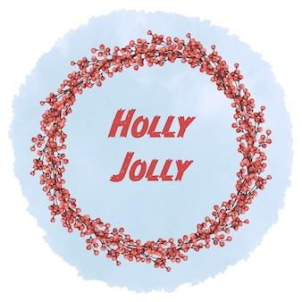 Рождественский венок из красных ягод