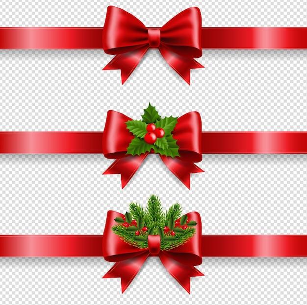 Рождественский красный бант и прозрачный фон