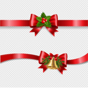 Christmas red bow and transparent background