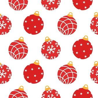 Рождественские красные рождественские шары бесшовные модели.