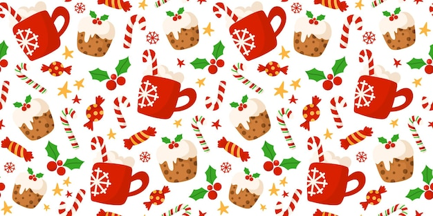 Christmas red cocoa hot drink mug, candy cane, sweet cake pattern