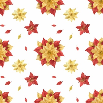 Christmas red gold poinsettia watercolor seamless pattern