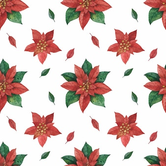 Christmas red green star poinsettia pattern