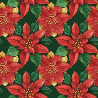 Christmas red green star poinsettia seamless pattern