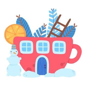 クリスマス赤い家カップ冬雪だるまアイコン。白い背景で隔離のウェブデザインのクリスマス赤い家カップ冬雪だるまベクトルアイコンの漫画フラット