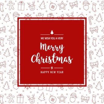 Christmas red icon elements card greeting frame background