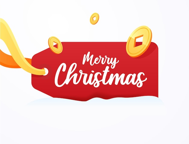 Christmas red label for prices, holiday greetings, discounts and sale.