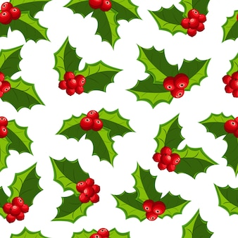Christmas red mistletoe seamless pattern