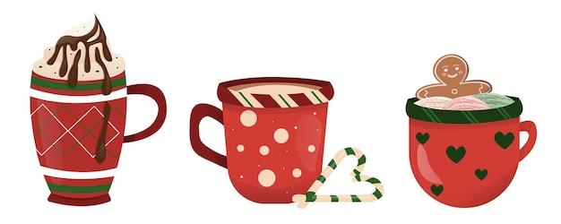 コーヒーのクリスマスの赤いマグカップ