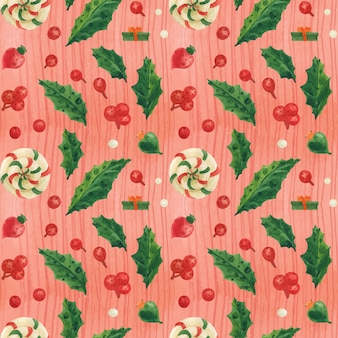 Christmas red pattern with lollipops and glass baubles, traced watercolor