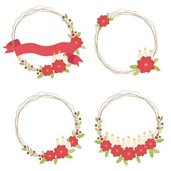 キャンドルと乾燥した小枝とリボンのリースフレームコレクションイラストクリスマス赤いポインセチアの花