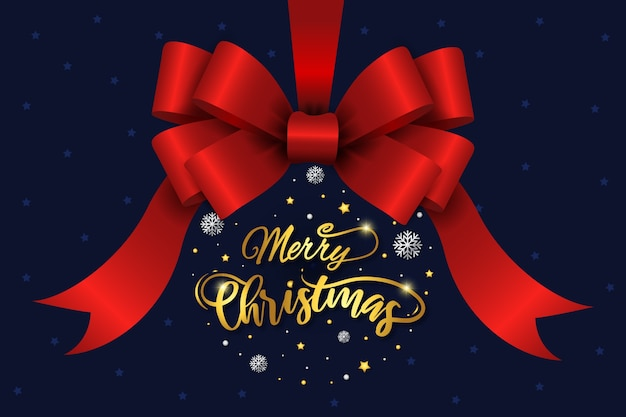 Christmas red ribbon and lettering background
