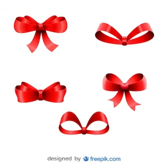 Christmas red ribbons five bows set