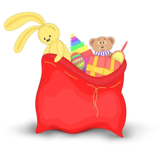 선물 및 장난감 크리스마스 빨간 자루입니다. 산타클로스의 귀여운 크리스마스 가방. 흰색 배경에 고립. 부드러운 장난감 테디베어와 노란 토끼.
