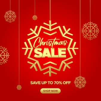 Christmas red sale banner with golden snowflakes for web and social media