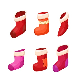 クリスマスの赤い靴下。ステッカー、クリスマスのクリップアート。ベクトル漫画イラスト。ホリデーギフト。
