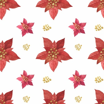 Christmas red star poinsettia pattern