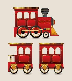 크리스마스 빨간 기차 디자인