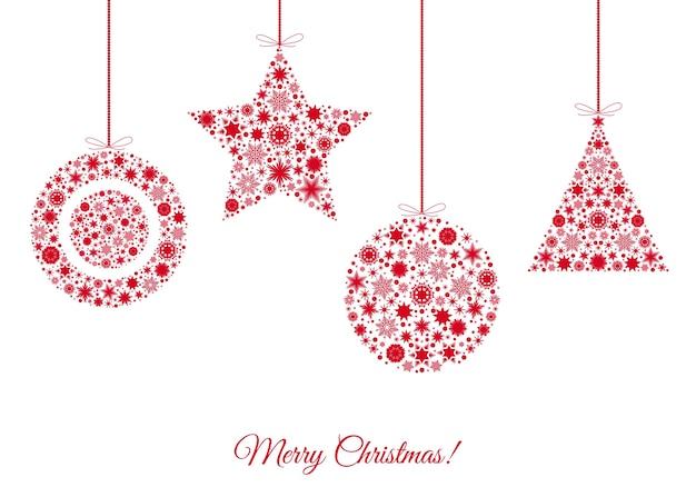 Рождественские украшения красного дерева на белом фоне