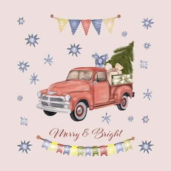 Christmas red truck with gift boxes and tree