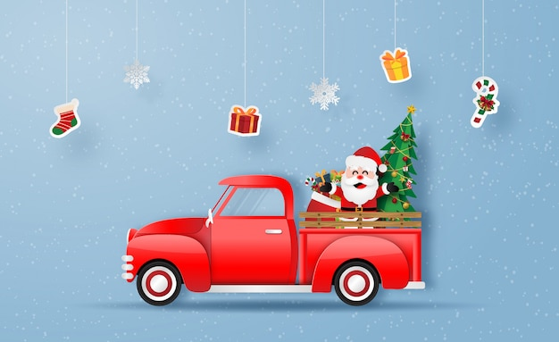 Christmas red truck with santa claus