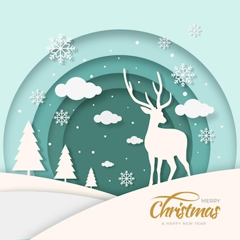 Christmas reindeer background in paper style