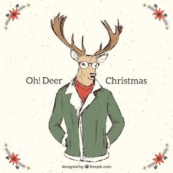 Carta di renne di natale che indossa abiti invernali in stile vita bassa