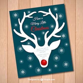 Carta di renne di natale con il rumore rosso
