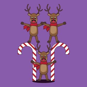 クリスマスのトナカイの漫画のキャラクター