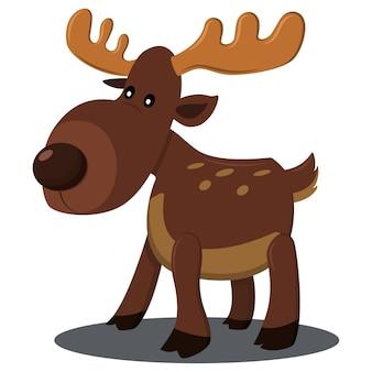 크리스마스 순록 캐릭터. 흰색 바탕에 만화 사슴 그림입니다.