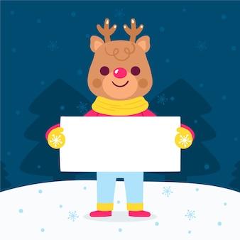 Christmas reindeer character holding blank banner