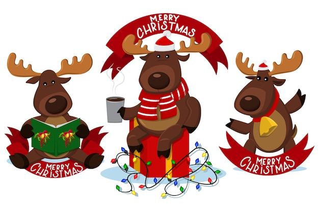 Christmas reindeer characters with red ribbon banner