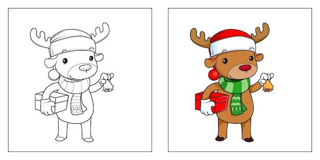 아이들을 위한 크리스마스 순록 색칠하기