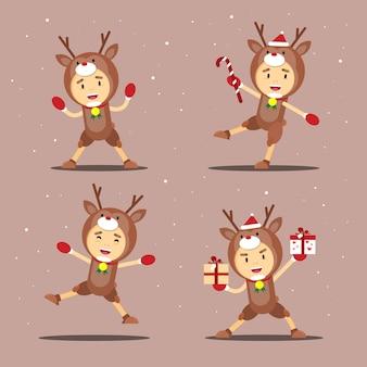 Рождественский костюм оленя иллюстрация