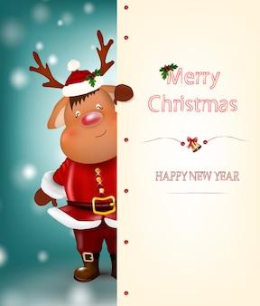 クリスマスのトナカイ。キュートで面白いキャラクターの鹿。クリスマスカード。