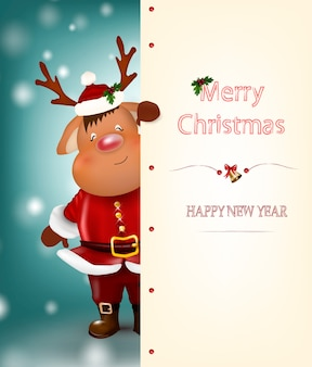 Christmas reindeer. cute and funny character deer. christmas card.