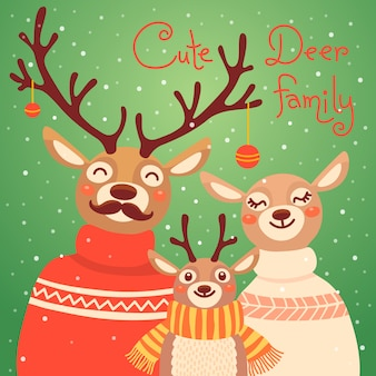 Christmas reindeer family. cute card with deer is dressed in sweaters and scarf.