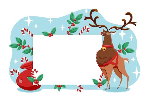 Рождественский олень держит пустой знамя